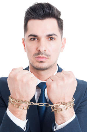 being arrested: Portrait of corrupt businessman or lawyer with chained hands being arrested for breaking the law isolated on white
