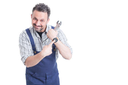 punctuality: Punctuality concept with cheerful mechanic showing his wrist watch with copyspace isolated on white