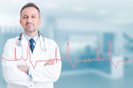 Healthy lifestyle and medical concept with confident young cardiologist and heartbeat diagram with copyspace Stock Photo