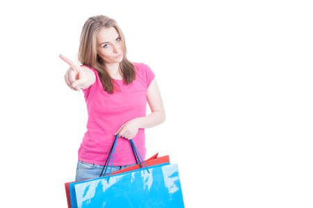 spending money: No more spending money concept with young shopaholic after a day of shopping isolated on white with copyspace Stock Photo