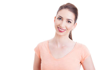 copyspace: Pretty young woman smiling having teeth braces isolated on white background with copyspace and advertising area