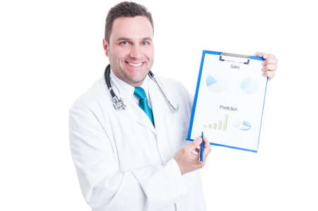 predictions: Male medic or doctor smiling and showing predictions statistics on clipboard isolated on white background Stock Photo