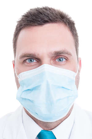 facemask: Portrait of medic or doctor with surgical mask on isolated on white background Stock Photo