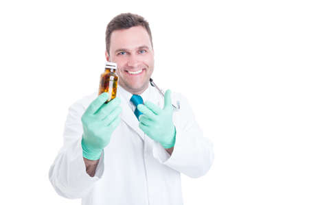 recipient: Male pharmacist offering daily dose pills in bottle isolated on white background with copy text space