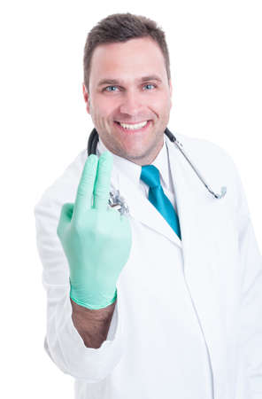 proctologist: Smiling male proctologist ready for fingers examination isolated on white background