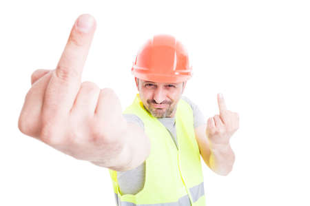 offensive: Ironic attractive constructor doing double offensive gesture by showing middle fingers isolated on white background