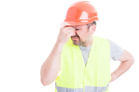 forgot: Portrait of male constructor forgot to do something as blooper or failure concept isolated on white with copy space area Stock Photo