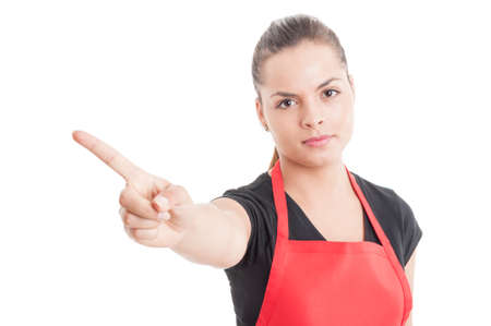 refusal: Supermarket employee with red apron doing a refusal gesture with hand isolated on white background Stock Photo