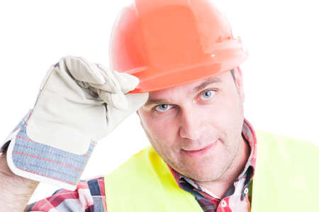salutation: Closeup of male constructor doing salutation gesture and holding hardhat isolated on white Stock Photo