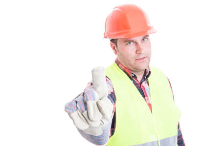 refusal: Serious constructor doing refusal or rejection gesture with finger isolated on white background
