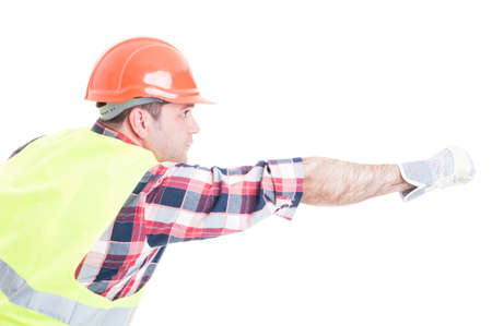 Builder in superhero pose doing fly gesture as power and strenght concept isolated on white background