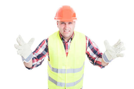 bad attitude: Male builder with bad attitude looking furious and pissed isolated on white background