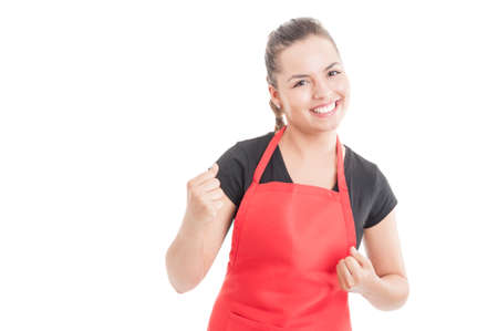 Successful hypermarket employee celebrate victory and smiling isolated on white background with copy space area Stock Photo