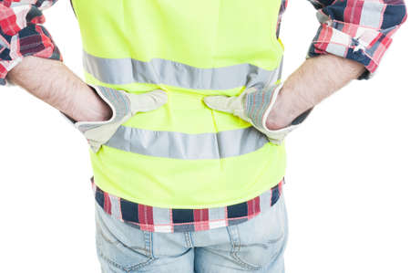 lower back pain: Closeup of builder or worker feeling lower back pain isolated on white background Stock Photo