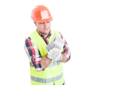 wrist pain: Male builder having wrist pain as medical problem concept isolated on white background with copyspace