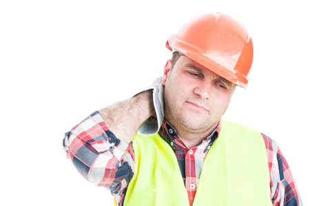 tense: Construction worker looking tired or tense and having neck pain isolated on white studio background Stock Photo