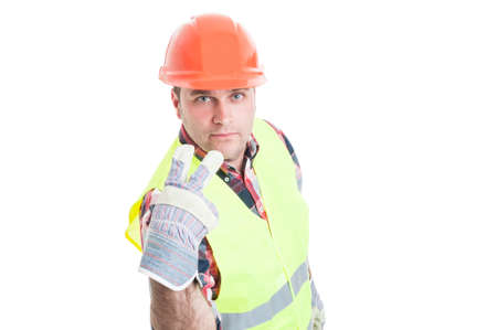 pay attention: Look into my eyes or pay attention on me concept with handsome builder in work clothes isolated on white background