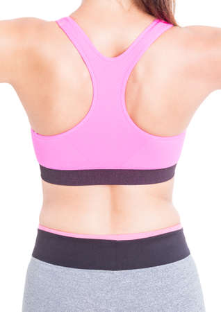 Back view of woman wearing pink bustier and tights isolated on white background