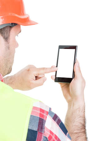 Closeup of builder working on cellphone with empty screen isolated on white background with text area