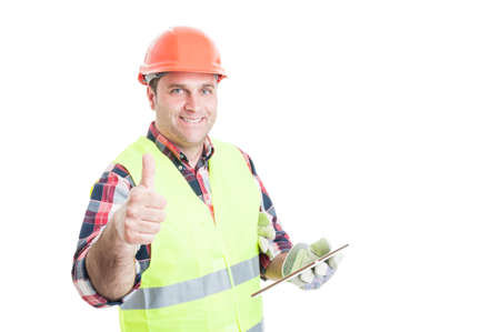 thumbup: Happy builder holding tablet and showing thumbup as great construction services concept isolated on white with copyspace