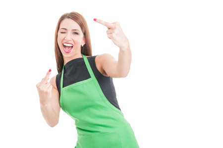 Rude sexy employee showing both middle fingers on white studio background with copyspace