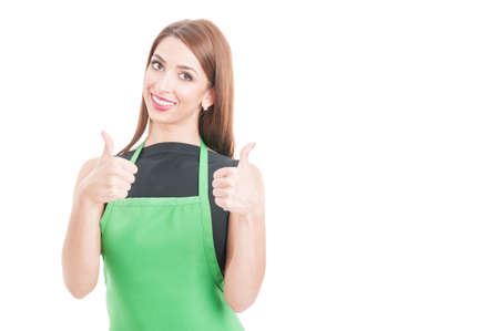 Beautiful young employee giving double thumbs up isolated on white with copy space area Stock Photo
