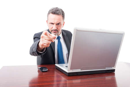 indicate: Angry manager or lawyer indicate or accusing you isolated on white background Stock Photo