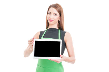 Successful seller showing modern tablet with blank display and text area isolated on white background