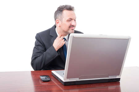 suffocating: Corporate manager looking nervous and anxious as discomfort concept isolated on white background Stock Photo