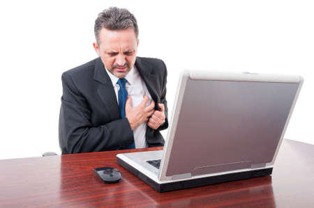 palpitations: Stressed lawyer having sudden palpitations as heart attack concept isolated on white background