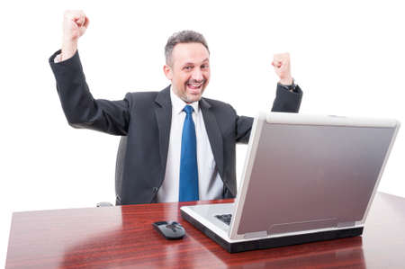 exult: Excited broker enjoying victory on his job isolated on white background