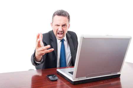 rage: Furious and mad lawyer screaming out loud  as rage concept isolated on white background