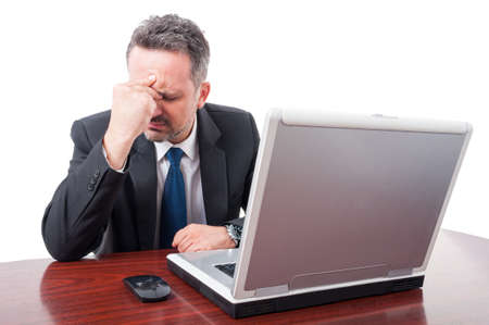 exhaustion: Professional lawyer suffering from headache as exhaustion concept isolated on white background