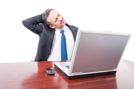 uncomfortable: Tired business manager having heck pain and feeling uncomfortable on white background