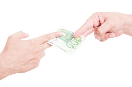 bribery: Hands passing euro currency in closeup as bribery concept isolated on white studio background