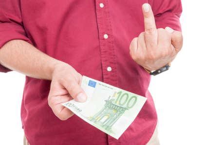 giving money: Rude male giving money and showing middle finger Stock Photo
