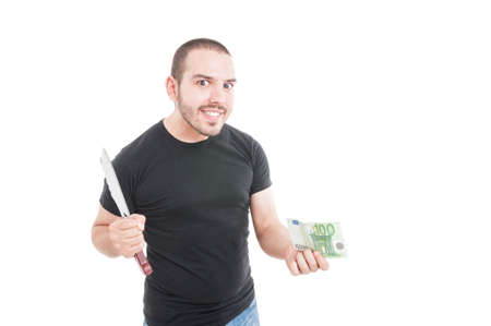 hitman: Crazy male with sharp knife and money as hitman concept isolated on white background
