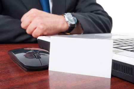 desk area: Blank business card with copy space area in closeup on lawyer desk Stock Photo