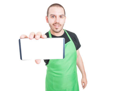 Selective focus of supermarket seller showing blank screen phone isolated on white background with copy text space Stock Photo