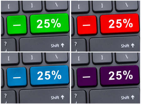 discounting: Button with 25 % dicount on modern computer keyboard as promotion concept