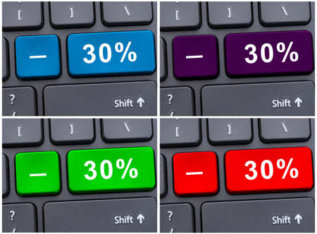 discounting: Discounting and profit concept with minus 30 % button on keyboard