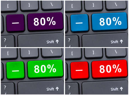 discounting: Laptop button with 80% discounting in close up on different colors