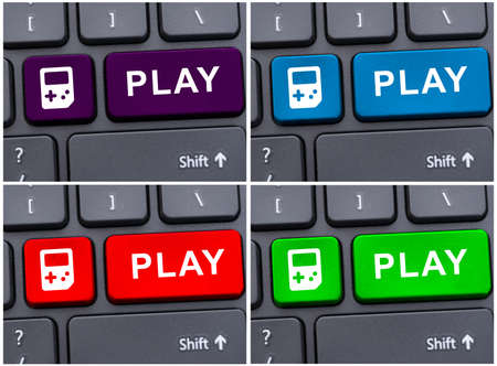 artistic addiction: Collage photo with play buttons on different colors on laptop keyboard