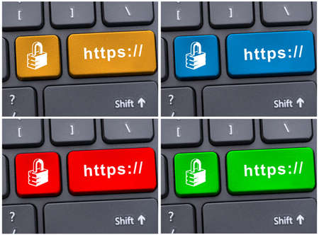 https: Colored https buttons on modern keyboard as link concept Stock Photo