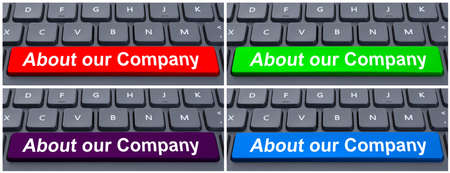our company: Information concept with space button with about our company text