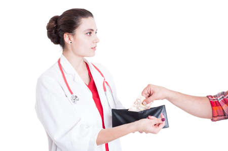 Picture of woman medic asking for illegal money to male patient isolated on white background