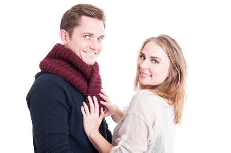 Woman arranging and posing mans autumn casual neckcloth  and smiling like being comfy isolated on white background