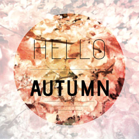 fall about: Inspirational message about fall on blurred wallpaper with leaves Stock Photo