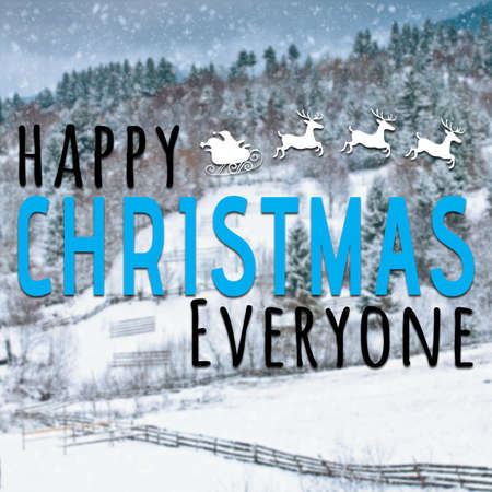 everyone: Happy christmas everyone inspirational quote on snow background with holiday symbol Stock Photo