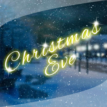 Creative and motivational quote with christmas eve text on blurred wallpaper